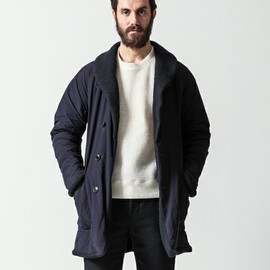 COMOLI - SHAWL COLLAR REVERSIBLE COAT