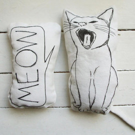 MosMea - set of 2 pillows cat pillow meow