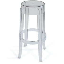 Kartell - Charles Ghost Stool (Tall Clear) by Philippe Starck