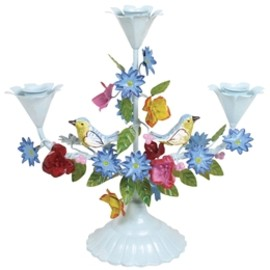 Rice - Mint blue 3 arm candle holder with birds and flowers from RICE