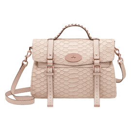 Mulberry - Oversized Alexa in Pebbled Beige Large Silky Snake Print