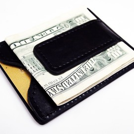 Tapp Collections - Fine Leather Magnetic Money Clip Wallet - Black
