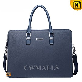 CWMALLS - CWMALLS® Mens Blue Leather Briefcase Bag CW915091