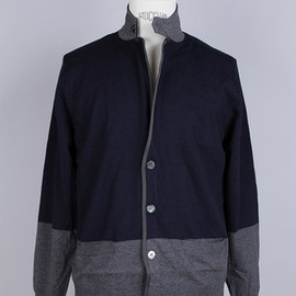 sacai - BICOLOR KNIT JACKET/NAVY GRAY