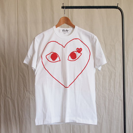 PLAY COMME des GARCONS - 綿天竺プリント(赤エンブレム)T-Shirt #white