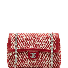 CHANEL - Red & White Boucle Bag