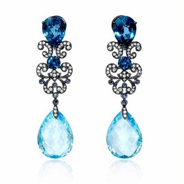 Firenze Jewels - Diamond, Blue Sapphire and Blue Topaz Antique Style 18k White Gold and Black Rhodium Dangle Earrings - ダイヤモンドのイヤリング