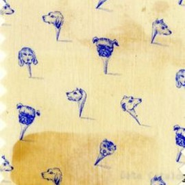 Dog pins fabric swatch at the patterns library at the Philadelphia School of Textiles