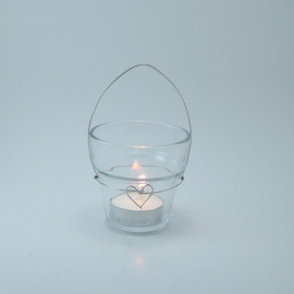 mcdonuts - Hanging Candle Holders in Wire Heart Design