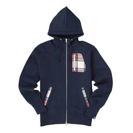 LOOPWHEELER - LW Basic Harris Tweed Patch Hoodie
