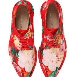 SIMONE ROCHA - SS2015 30MM PRINTED FAUX LEATHER DERBY SHOES