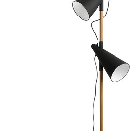 BoConcept - Cone floor lamp, oak with black metal shades and base