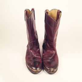 Vintage Distressed Wine Oxblood Justine Cowboy Frye Leather Boots