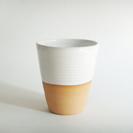 juliapaulpottery - One ceramic pottery cup, coffee mug without a handle, white tumbler, minimalist modern pottery, Forest series