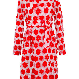 SIMONE ROCHA - SS2015 Red Embroidered Floral Trench Coat