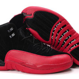 Retro Jordan 12 Flu Game Black and Red Mens - Suede
