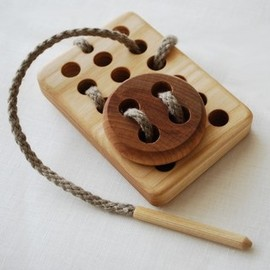 Board with the Button Wooden Toy