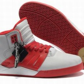 Men Red and White High Supra Shoes Skytop III