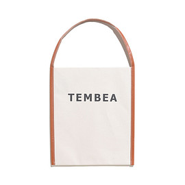 TEMBEA - Big Logo Tote-Canvas-Natural×Camel