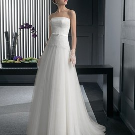 wishesbridal - Strapless Outdoor Garden A Line Bridal Wedding Dress