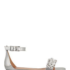 GIVENCHY - Metallic leather sandals with crystals
