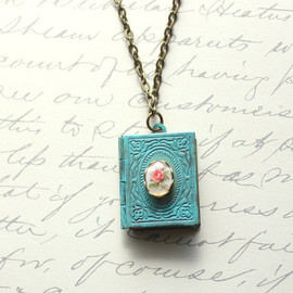 apocketofposies - Patina Jewelry, Book Locket Necklace, Aqua Patina, Pink Rose Cameo, Shabby Chic, Secret Hiding Places, Antique Brass, Unique Necklace