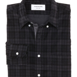 THOM BROWN - CORDUROY BUTTON DOWN SHIRT WITH GROSGRAIN PLACKET