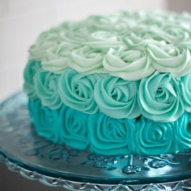 cake - Hot Mint Ombre Blue Rose Cake