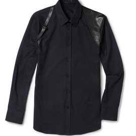 Alexander McQueen - Alexander McQueen Slim-Fit Flannel and Leather Harness Shirt