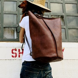 kikaNY - Leather duffle backpack