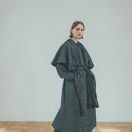 clane - MIX HOUNDSTOOTH CAPE COAT