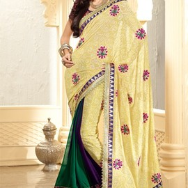 Marvelous Gold Yellow Color Embroidered Saree