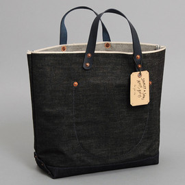 Stanley & Sons - BLACK SELVEDGE DENIM MARKET BAG WITH INDIGO SELVEDGE DENIM