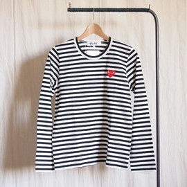 PLAY COMME des GARCONS - 綿天竺ボーダーTシャツ 赤エンブレム #black/white