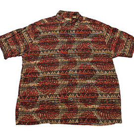 VINTAGE - Vintage 1990s 90s Tribal Print Rayon Button Up Shirt Mens Size L Large