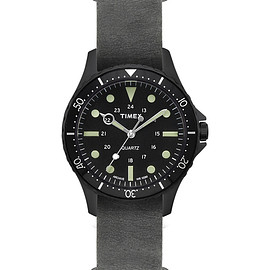 TIMEX - Navi Harbor w/ Stonewashed Black Leather Strap