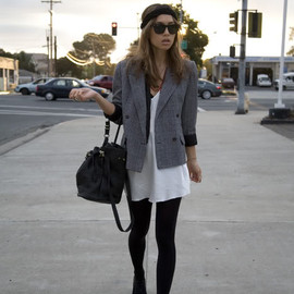 (Ray-bans, Forever 21 knit braided headband, vintage slipdress, vest, blazer, and shoes, UO tights, Alexander Wang Diego bag)