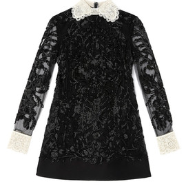 VALENTINO - Long Sleeved A-Line Embroidered Dress