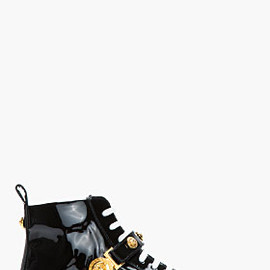Versace - VERSACE Black patent gold logo High Top Sneakers