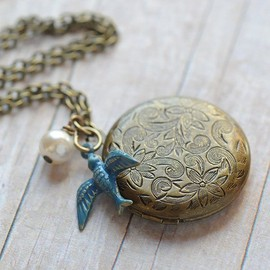 Antique blue-bird locket