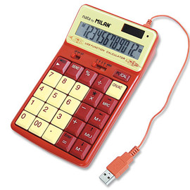 MILAN - 12-DIGIT ORANGE USB CALCULATOR 1504128O