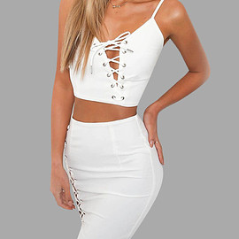 Yoins - White Spaghetti Lace-up Design Vest & Mini Skirt Two Piece Outfits