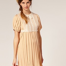 TBA -  Lace Pinafore Bib Pleated Dress