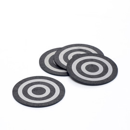 THE CONRAN SHOP - RECYCLED TYRE CIRCULAR COASTERS 10CM SET X 4