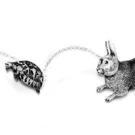 Tilly Bloom - The Hare and The Tortoise Necklace in Black and White