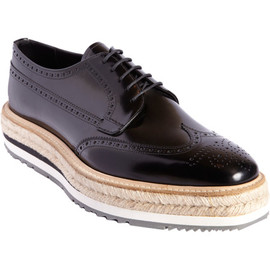 Prada - Stacked Sole Perforated Wingtip Blucher