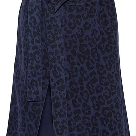 Sibling - Leopard-print brushed cotton-twill wrap skirt