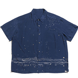 Porter Classic - Honolulu Moon Night Aloha Shirt-Navy