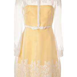 VALENTINO - Soft Yellowivory Belted Silk Lace Overlay Shirtstyle Dress