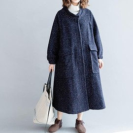 long Wool coat - Navy blue women's long Wool coat, winter coat, long overcoat, maxi coat